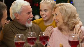 Family chatting and joking at Christmas dinner, happy to meet for holidays
