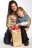 Family checking presents Stock Photo