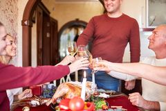 Family cheering and drinking on Thanksgiving on a blurred background. Family holiday gathering concept. Cheerful, fantastic, big family cheers glasses of wine royalty free stock images