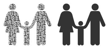 Family Child Collage of Binary Digits stock illustration