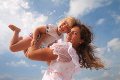 Family, child and happiness concept - mother stock photo