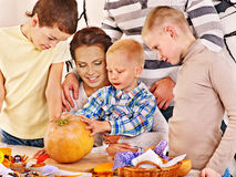 Family  with child holding make carved pumpkin Stock Photography