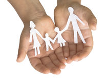 Family in the child's hands Stock Photography