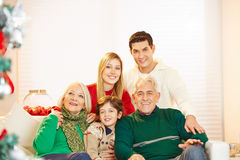 Family with child and seniors at christmas royalty free stock image