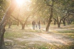 Family child walking garden autumn sun rays. Family with a child walking in a garden in autumn on backlight with sun rays royalty free stock photography
