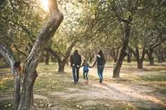 Family child walking garden autumn sun rays. Family with a child walking in a garden in autumn on backlight with sun rays stock photography