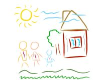 Family children artistic drawing Royalty Free Stock Photos