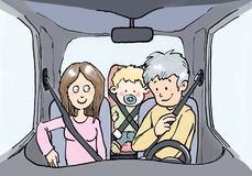 Family with children in car with safety belt Royalty Free Stock Photo