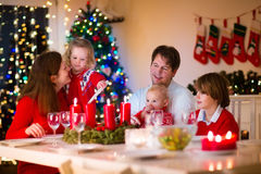 Family with children at Christmas dinner at home Royalty Free Stock Photography