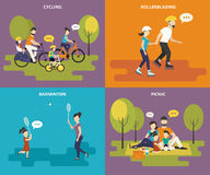 Family with children concept flat icons set Stock Photo