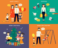 Family with children concept flat icons set Stock Images