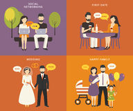 Family with children concept flat icons set Stock Image