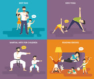 Family with children concept flat icons set Royalty Free Stock Photography
