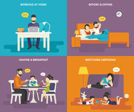 Family with children concept flat icons set of people with tablet pc and laptop Royalty Free Stock Photography