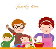Family with children cooking. Illustration of a family with children cooking together Stock Photos
