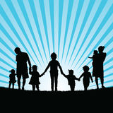 Family with children enjou togetherness in nature silhouette col. Or art illustration Royalty Free Stock Photography