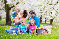 Family with children enjoying picnic in spring park Royalty Free Stock Image
