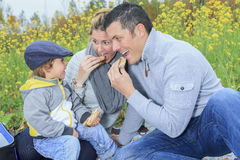 Family children having picnic in autumn season Stock Photos