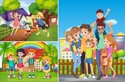 Family and children at home. Illustration Royalty Free Stock Photo