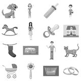Family with children icons set. Gray monochrome illustration of 16 family with children vector icons for web Royalty Free Stock Photos