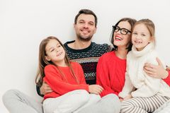 Family, children and people concept. Happy delighted cute mother royalty free stock photo