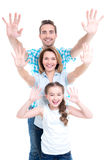 Family with children  raised hands up Royalty Free Stock Photos
