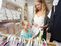 Family in a children`s store Stock Photos
