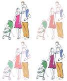 Family with children stock illustration