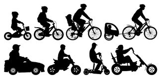 Family with children traveling on bikes. Mountain bike. Cyclist with a child stroller. City cycling family. Children transport and car and scooter, motorcycle royalty free illustration