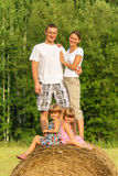 Family with children on vacation outdoors Stock Images