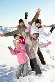 Family with children at winter. Family with children on snow in winter stock photos