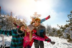 Family with children on winter ski vacation. Happy family with children on winter ski vacation Royalty Free Stock Image