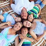 The family with childs outdoors Stock Photography