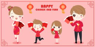 Family with chinese new year. Cartoon family with chinese new year on the red background Royalty Free Stock Photos