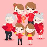 Family with chinese new year. On the pink background Royalty Free Stock Images