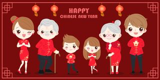 Family with chinese new year. On the red background Stock Images