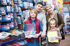 Family choosing stationery in store Stock Photo