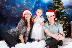 Family on christmas Royalty Free Stock Image