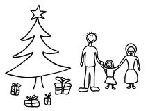 Family Christmas. Happy family: mother, father and child. Christmas at home - Christmas tree and gifts. Child-like illustration Stock Photography