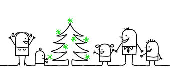 Family & Christmas. Vector hand drawn characters line Stock Images