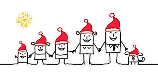 Family & Christmas. Vector hand-drawn characters line Royalty Free Stock Photo