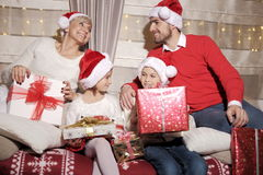 Family at Christmas Stock Photo