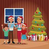 Family christmas cartoon. Icon vector illustration graphic design Stock Image
