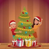 Family christmas cartoon. Icon vector illustration graphic design Stock Images