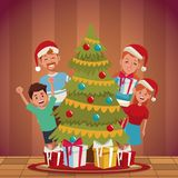 Family christmas cartoon. Icon vector illustration graphic design Stock Photos