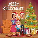 Family christmas cartoon. Icon vector illustration graphic design Royalty Free Stock Photo