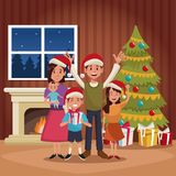 Family christmas cartoon. Icon vector illustration graphic design Stock Photo