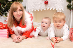 Family in Christmas clothes Stock Images