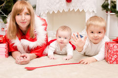 Family in Christmas clothes Royalty Free Stock Photo