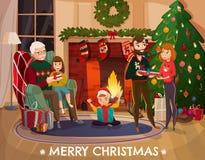 Family Christmas Congratulation Illustration Stock Photo